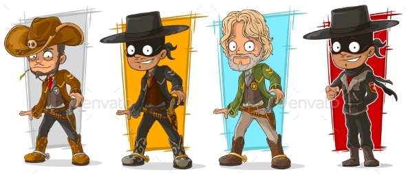 Cartoon Sheriff and Cowboy Character Vector Set - People Characters