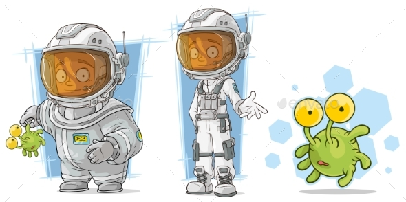 Cartoon Spaceman with Alien Character Vector Set - Miscellaneous Characters