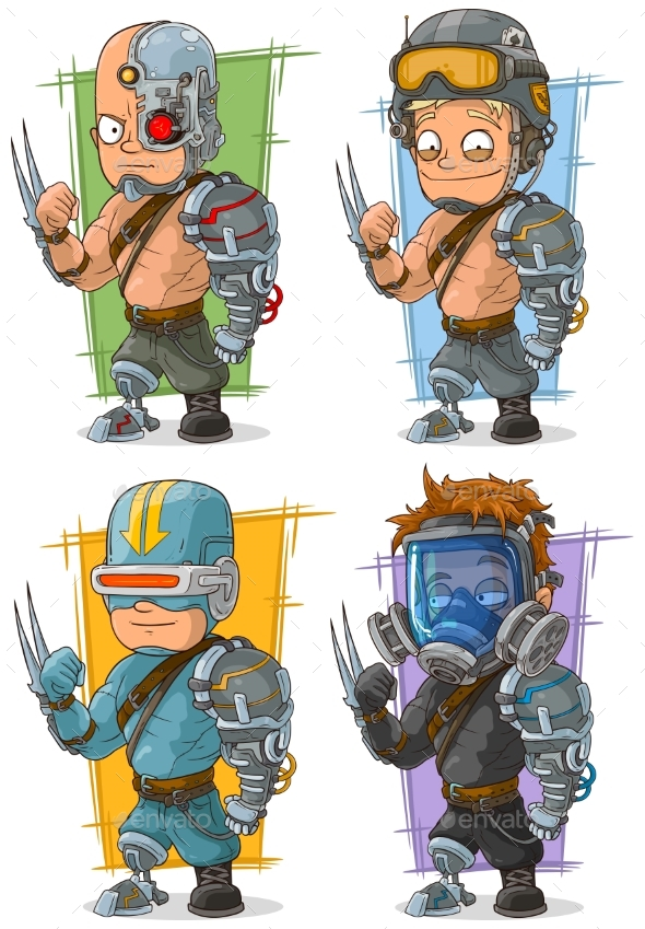 Cartoon Cyborg Soldier Character Vector Set - Miscellaneous Characters