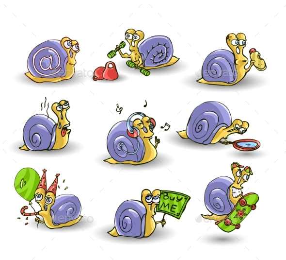 Mr. Snail on White Background - Animals Characters