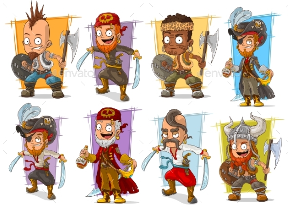 Cartoon Warrior with Sword and Axe Character Set - Miscellaneous Characters