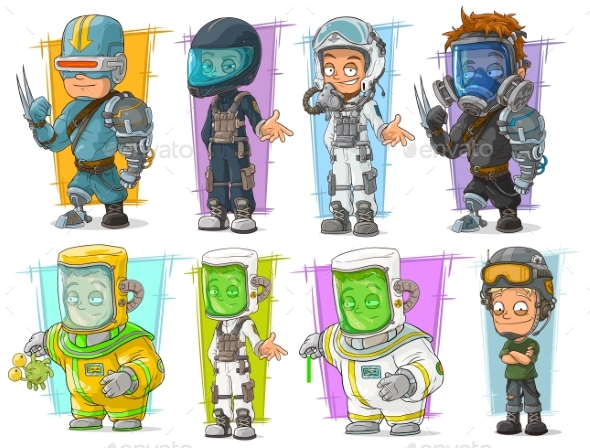 Cartoon Soldier Scientist with Mask Character Set - Miscellaneous Characters