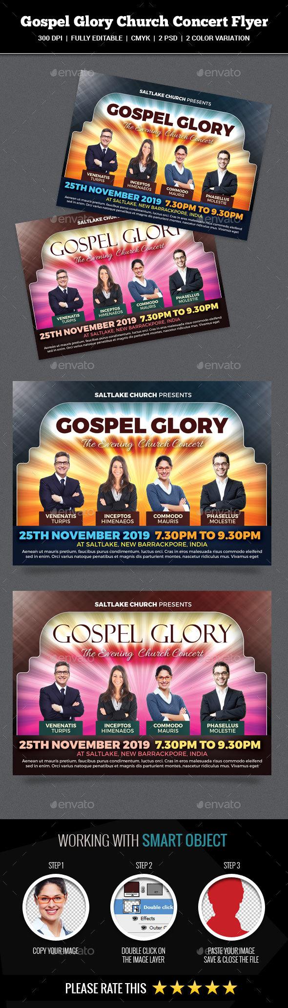 Gospel Glory Church Concert Flyer - Church Flyers
