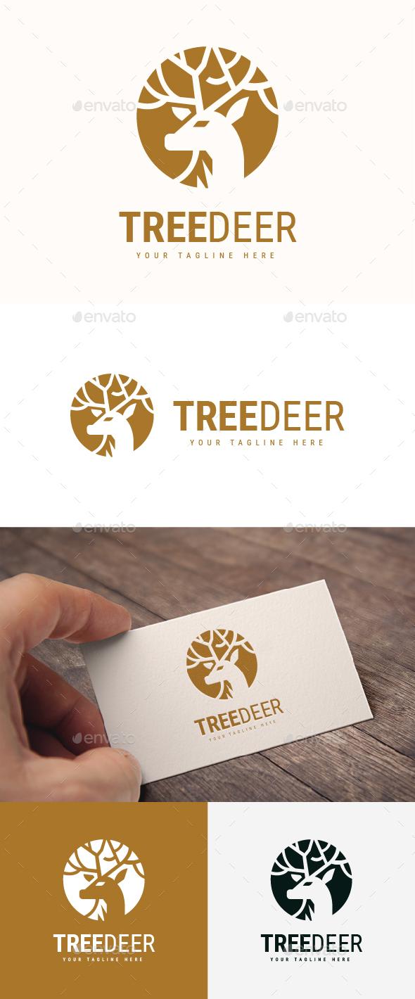 Tree Deer Logo - Animals Logo Templates