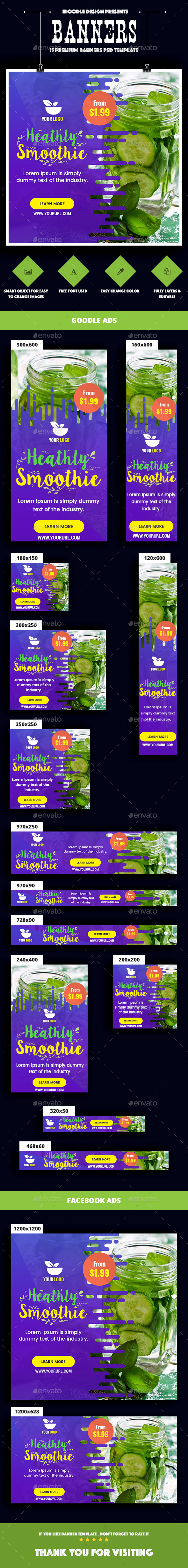 Smoothie Bar & Healthy Drinks Shop Banners Ad - Banners & Ads Web Elements