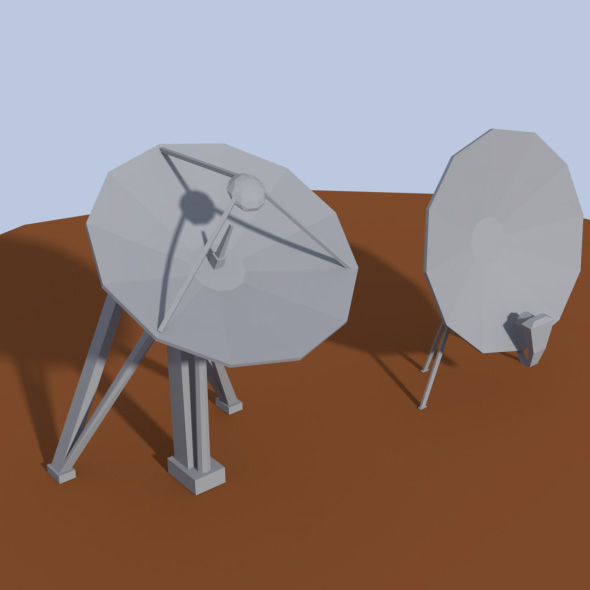 Low Poly Antenna Dish - 3DOcean Item for Sale