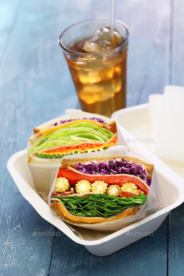 homemade thick veg sandwich  - Stock Photo - Images