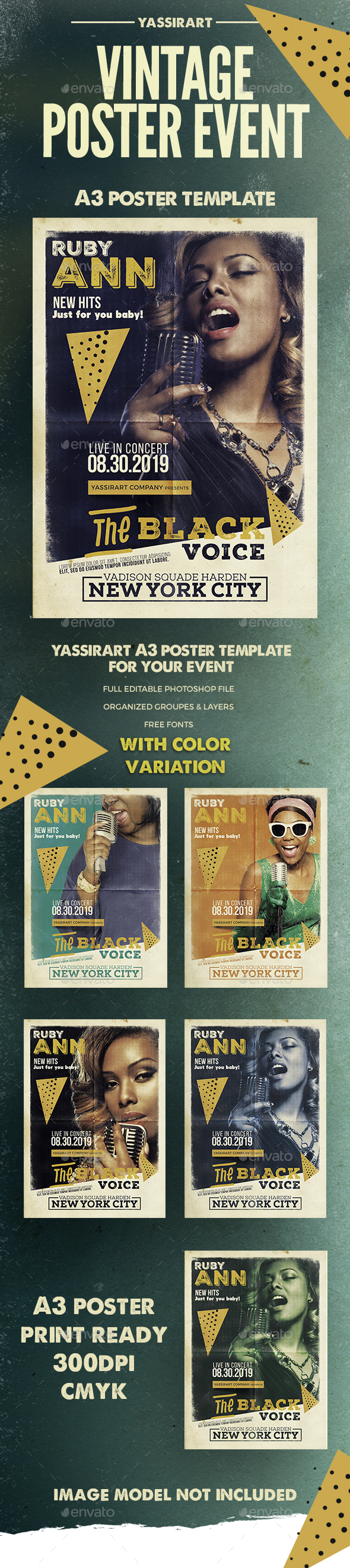 Vintage Poster Music Event A3 - Clubs & Parties Events