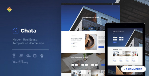 Chata - Modern Real Estate / Architecture Template + E-Commerce - Business Corporate
