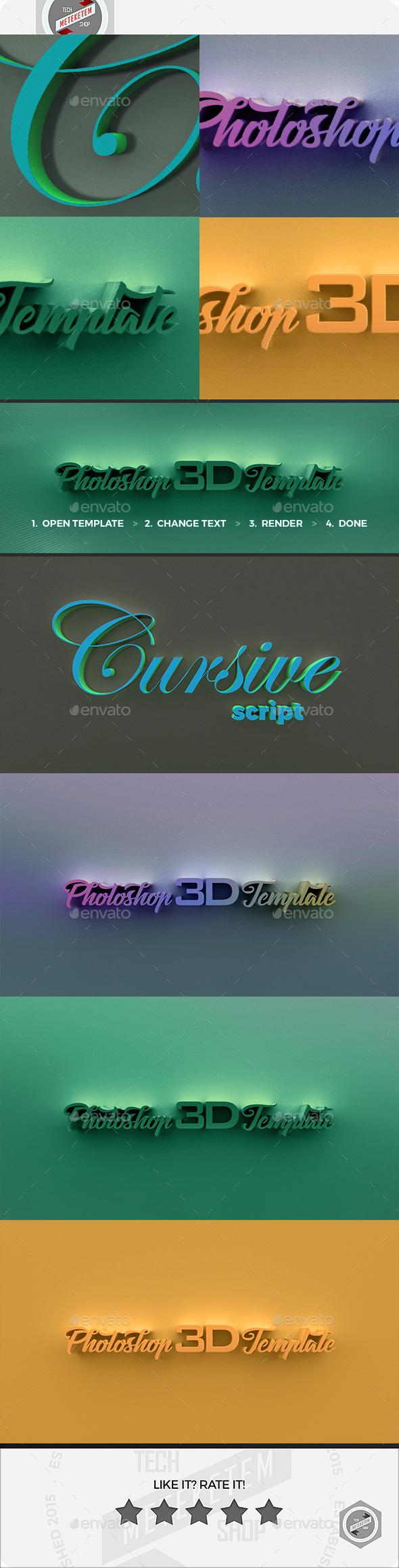 3D Photoshop Template 2 - Text 3D Renders