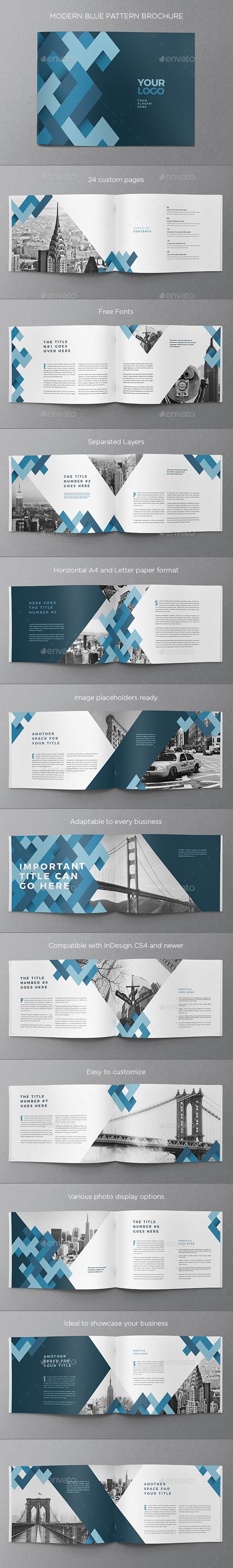 Modern Blue Pattern Brochure - Brochures Print Templates