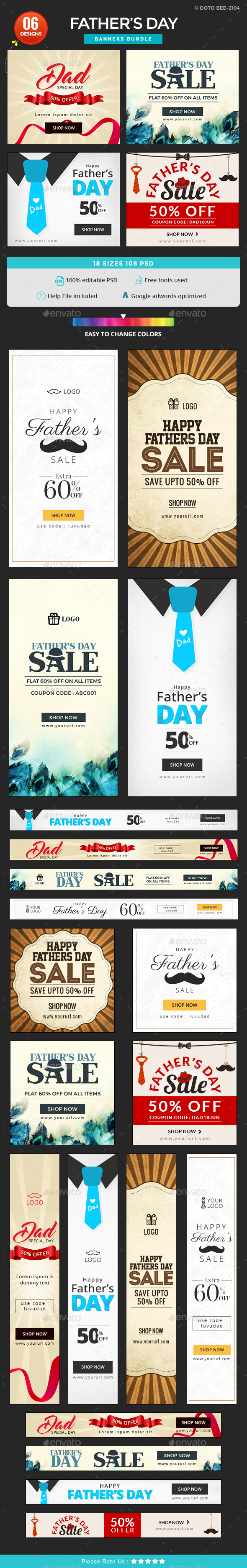 Fathers Day Banners Bundle - 6 Sets - 108 Banners - Banners & Ads Web Elements
