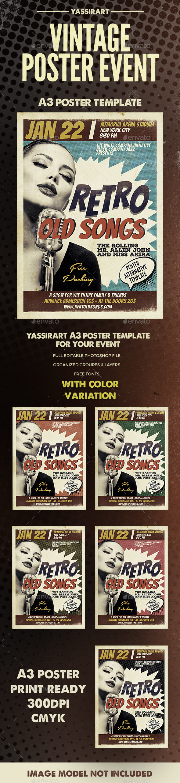 Retro Event Poster A3 Template - Clubs & Parties Events