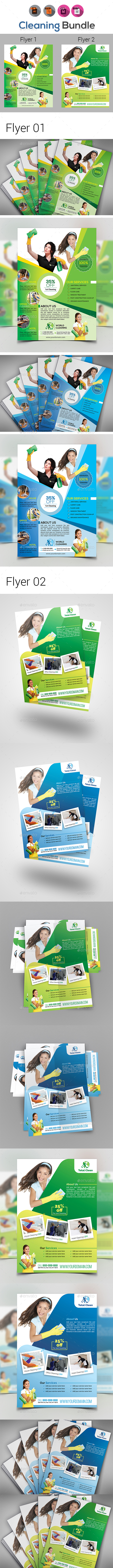Cleaning Service Flyer Template Bundle - Corporate Flyers
