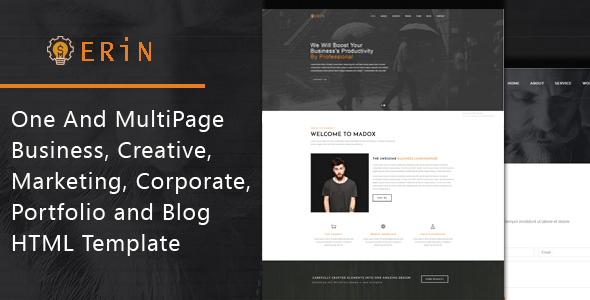 Erin – One and Multipage Creative, Business, Corporate Agency and Personal Portfolio HTML Template