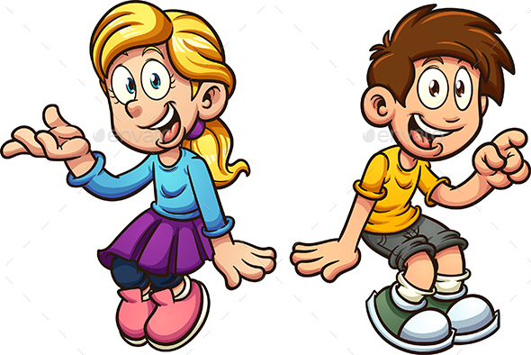 Boy and Girl Sitting - People Characters