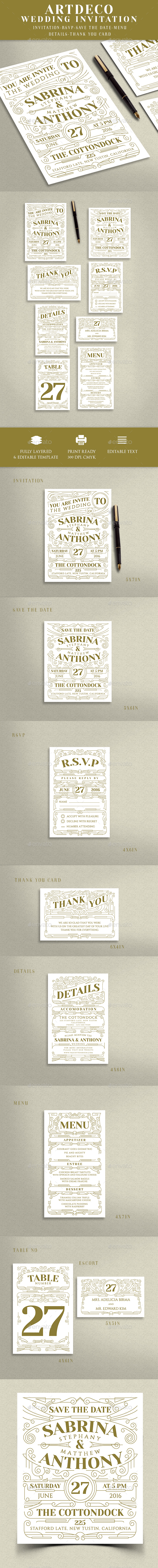 Artdeco Wedding Invitation - Weddings Cards & Invites