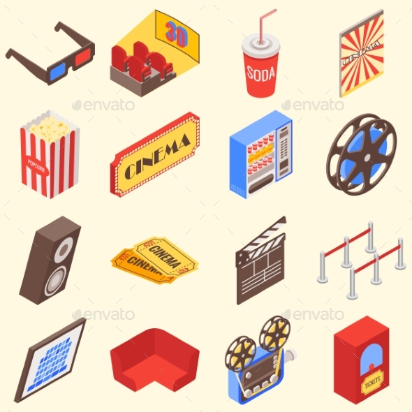Isometric Movie Theater Accessories and Gadgets  - Media Technology