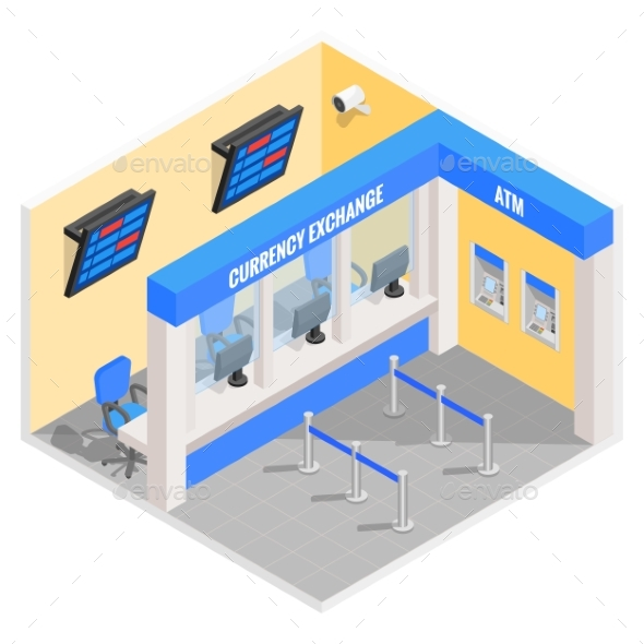 Currency Exchange Office in Isometric Style Design - Industries Business