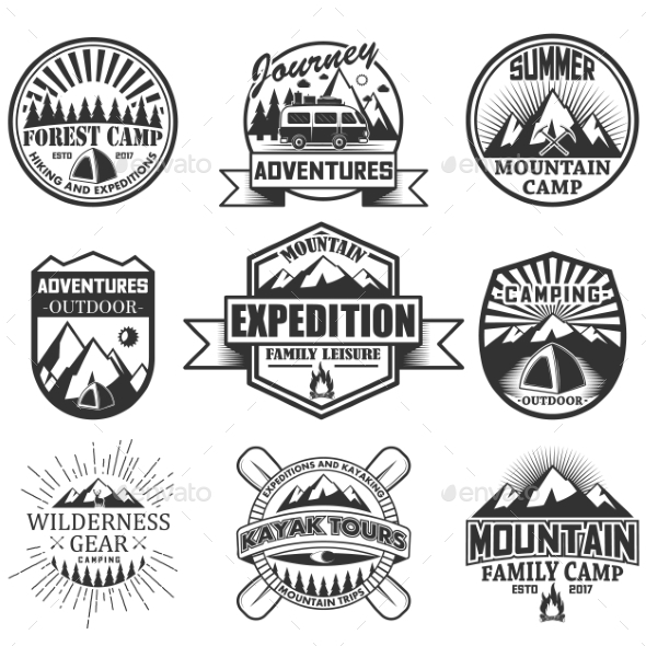 Vector Set of Camping Objects Isolated on White - Decorative Symbols Decorative