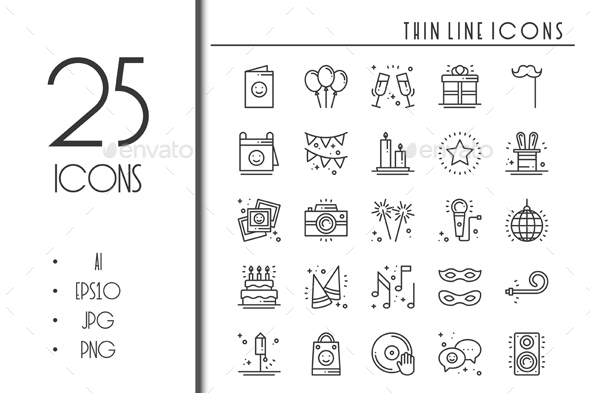 25 Birthday Party Celebration icons - Objects Icons