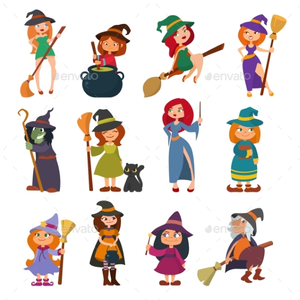 Cute Little Witch Hag Harridan Vixen with Broom - People Characters