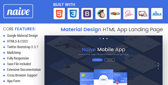 Naive - Material Design Responsive HTML App Landing Page - Marketing Corporate