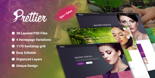 Prettier - Beauty Salon & Spa  PSD Template