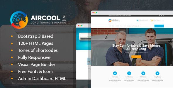 Exceptional AirCool - Conditioning And Heating HTML Template with Visual Builder