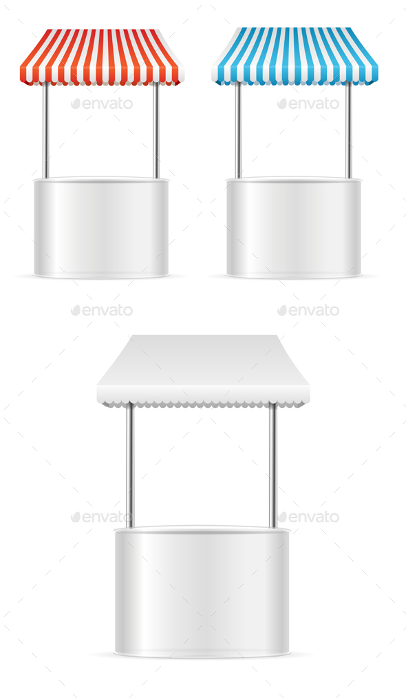 Realistic Template Blank White Street Fast Food Market Table. Vector - Objects Vectors