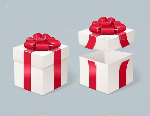 Open and Close Present Box. Vector - Objects Vectors