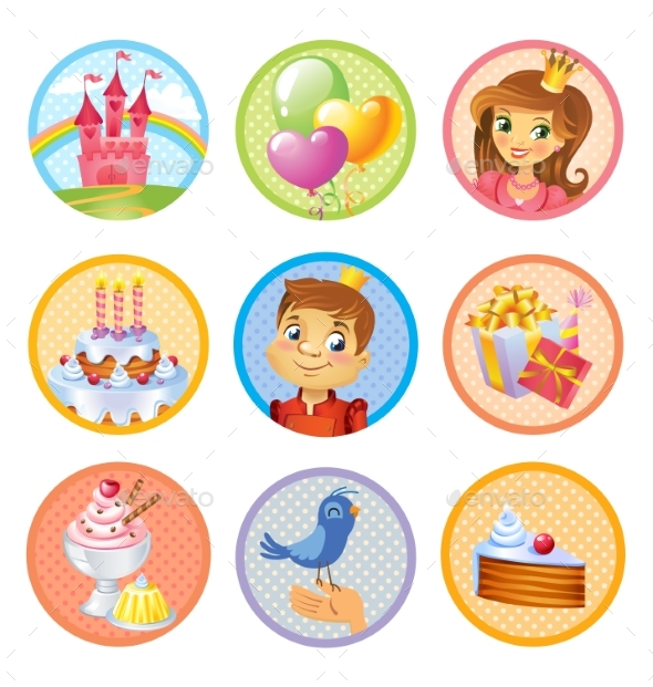 Birthday Stickers - Miscellaneous Vectors