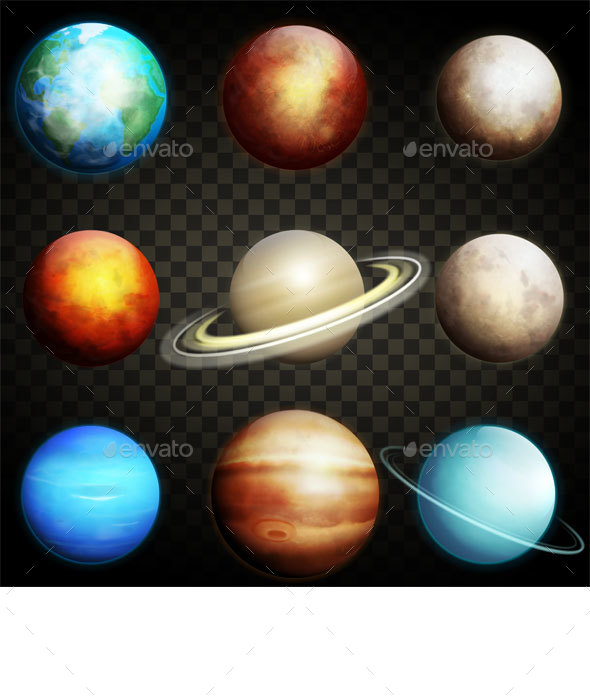 Planets of the Solar System Isolated - Nature Conceptual