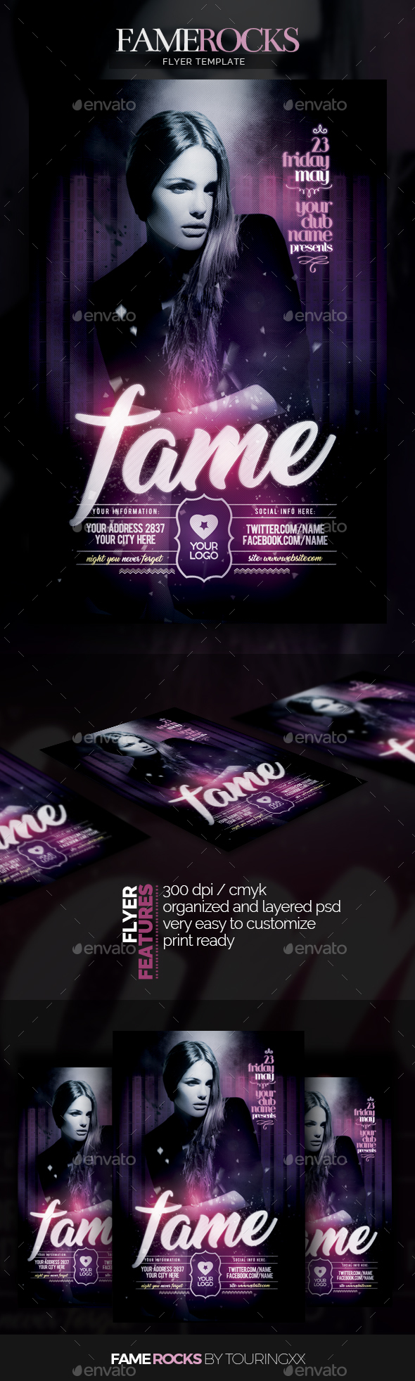 Fame Rocks Flyer Template - Flyers Print Templates