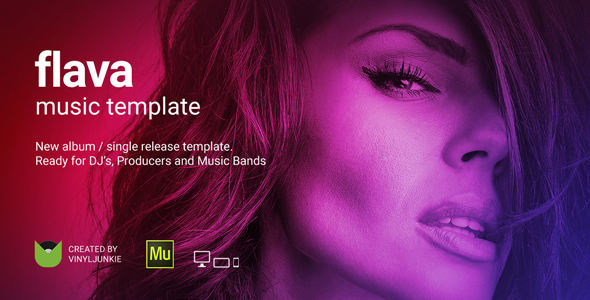 Flava - Album / Single Release Promo and DJ / Music Band Responsive Muse Template