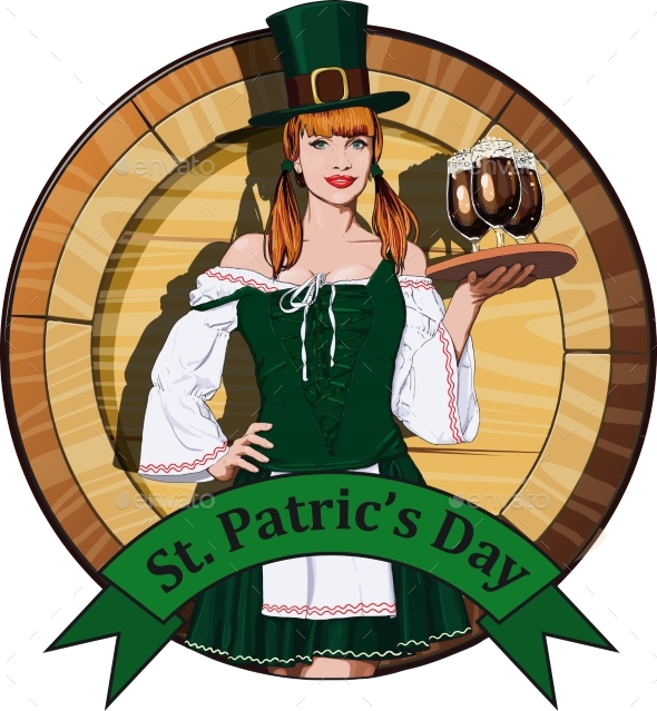 Irish Waitress with Beer Label - Food Objects