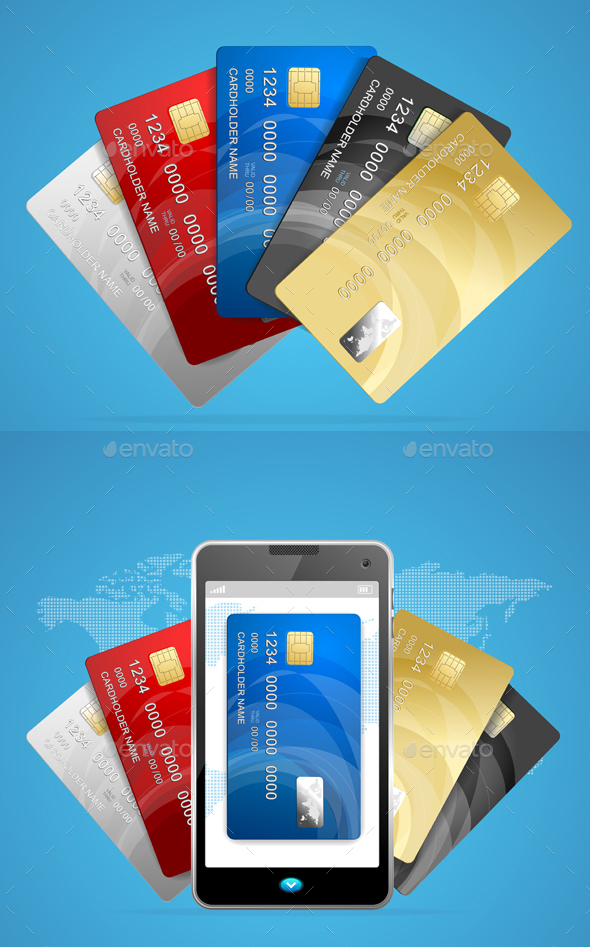 Concept of Phone Pay with Credit Plastic Card. Vector - Conceptual Vectors