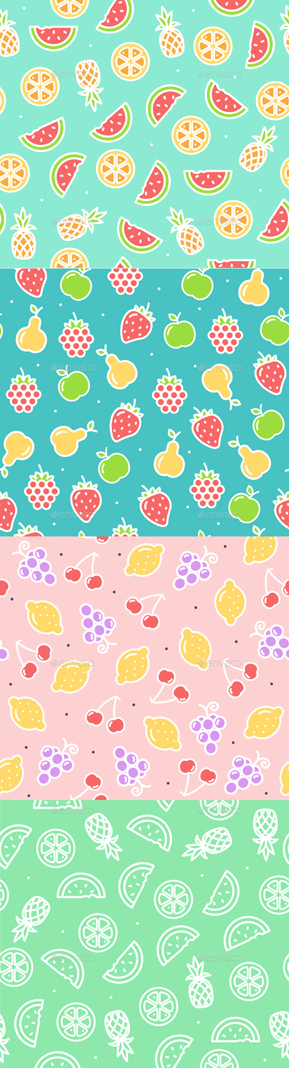 Fruit Background Pattern. Vector - Patterns Decorative