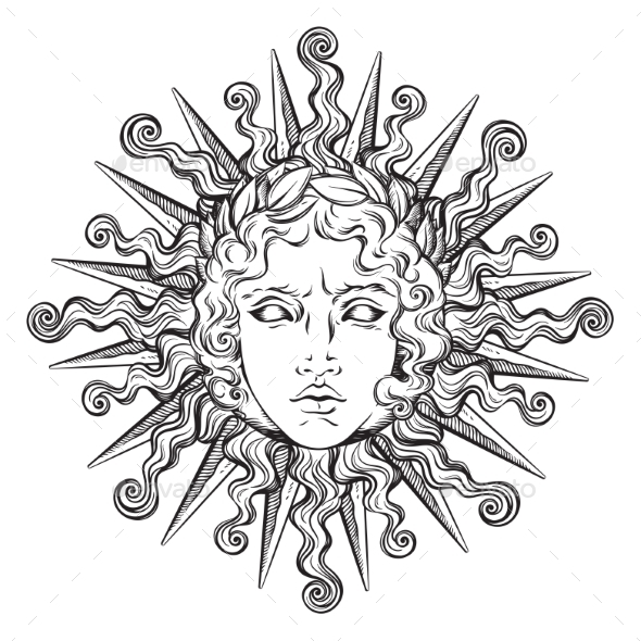 Antique Style Sun with Face of Apollo - Objects Vectors