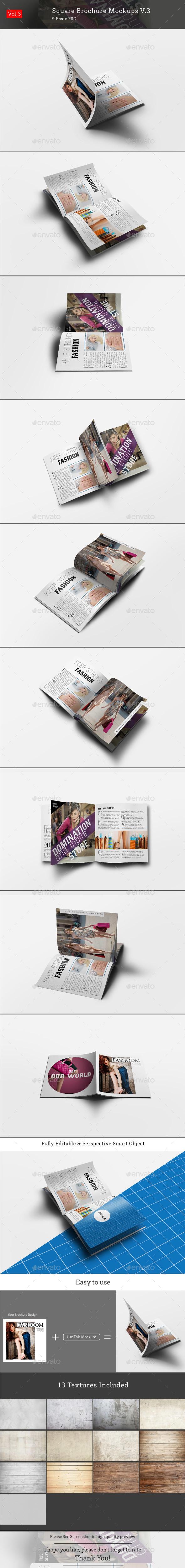 Square Brochure Mockups V.3 - Brochures Print