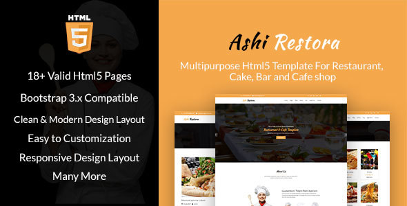 Image of Aashi Restora - Multipurpose HTML5 Template For Restaurant, Cake, Bar and Cafe shop