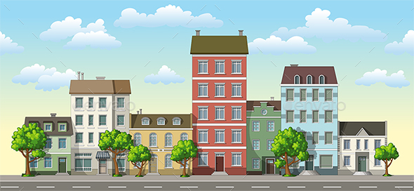 Classic Family Houses with Trees - Buildings Objects