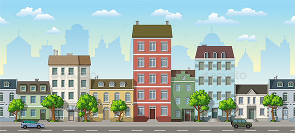 Seamless Cityscape Cartoon Background - Buildings Objects