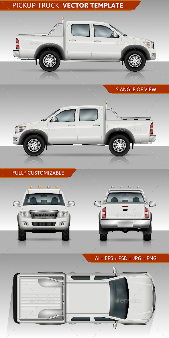 Pickup truck Vector template - Man-made Objects Objects