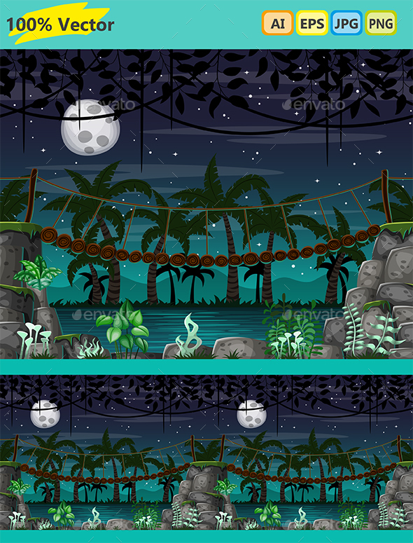 Horizontal Seamless Game Background - Bridge at Night - Backgrounds Game Assets