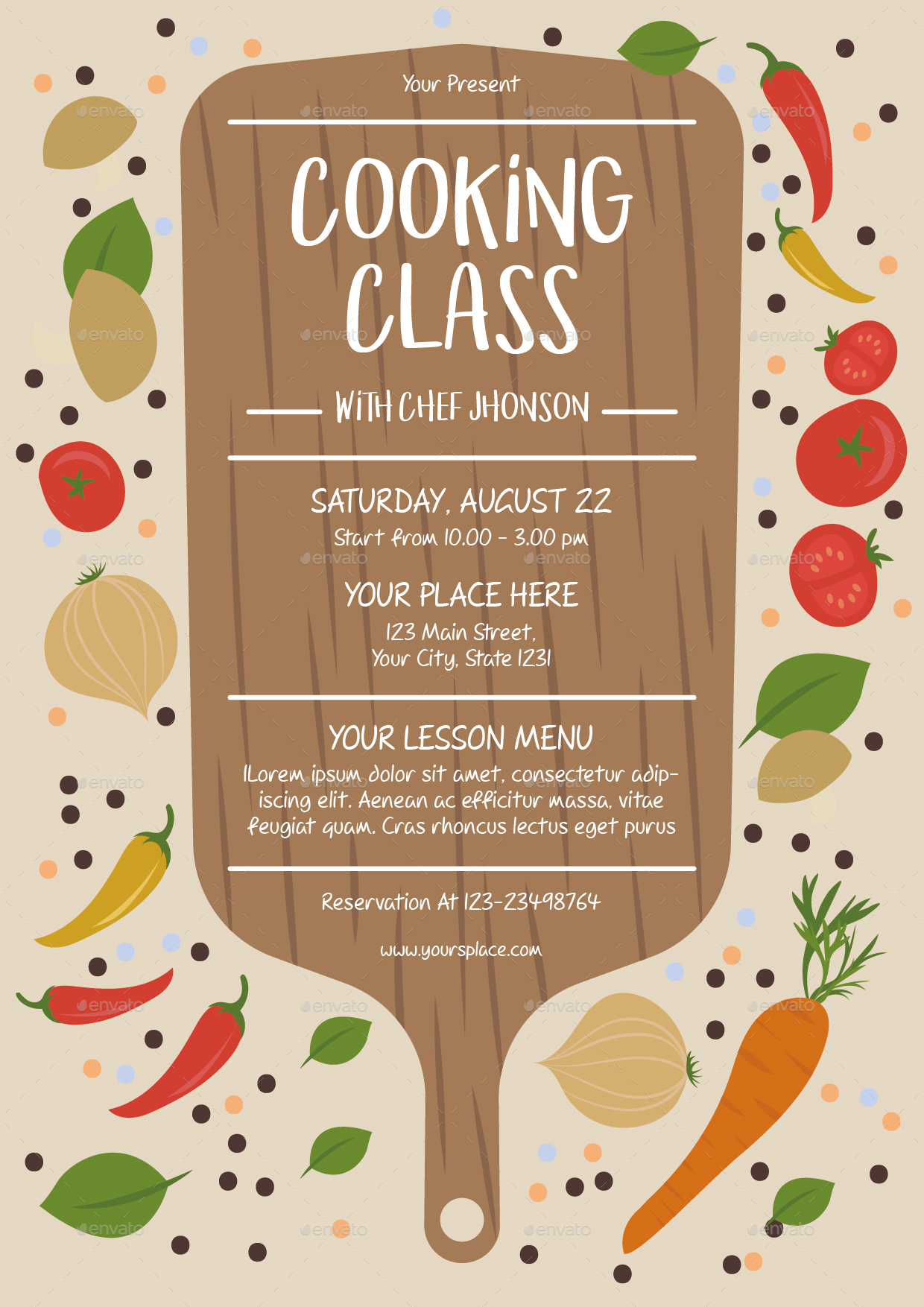 cooking class flyer template by lyllopop graphicriver