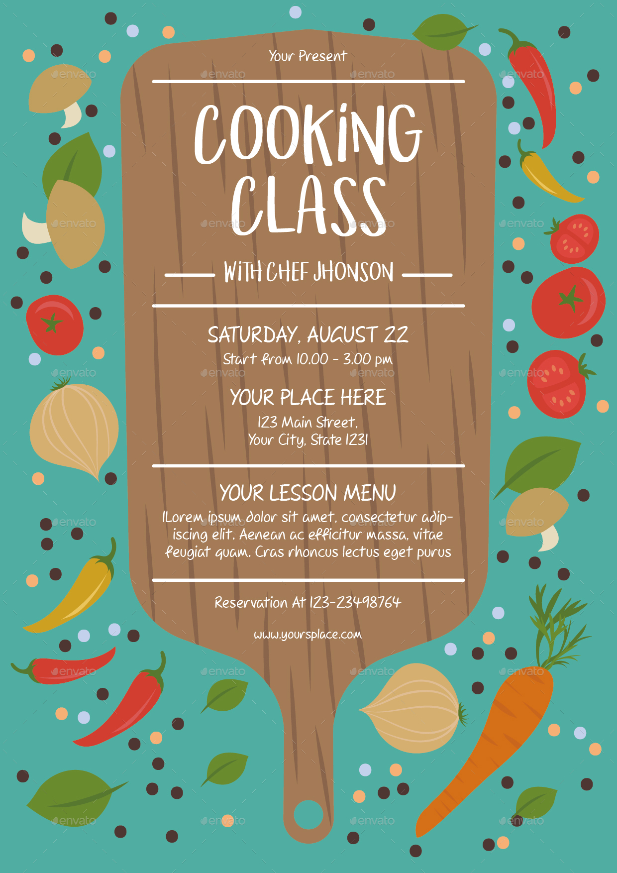 cooking class flyer template by lyllopop