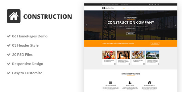Construction - Construction & Building Business PSD Template