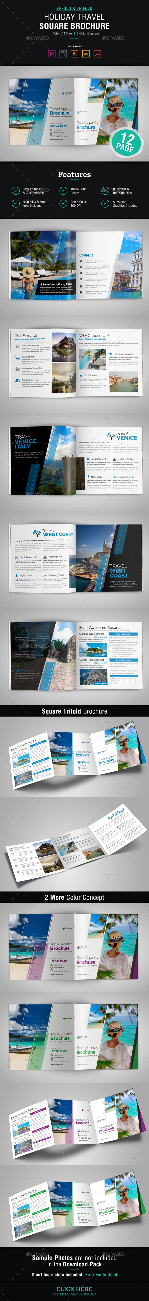 Holiday Travel Square Bifold & Trifold Brochure - Corporate Brochures