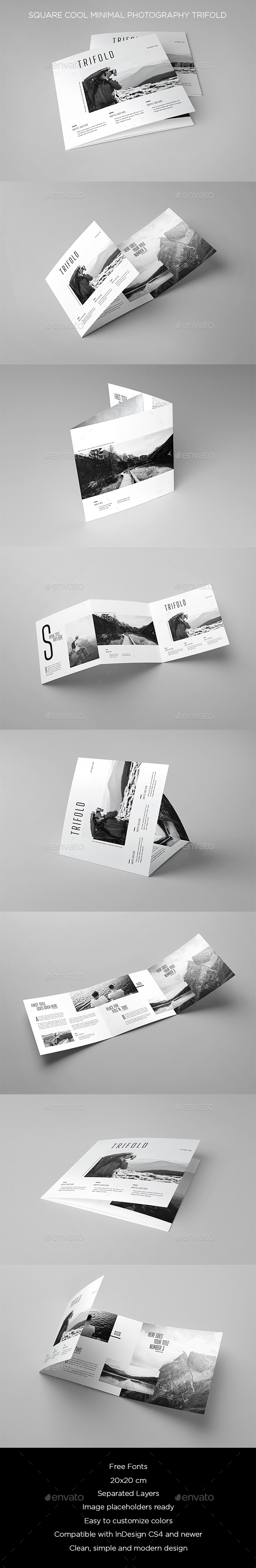 Square Cool Minimal Photography Trifold - Brochures Print Templates
